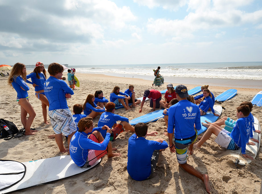 preparing for group North Carolina surf lessons